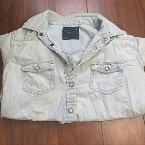AMERICAN EAGLE BLUE JEAN BUTTON-UP FLANNEL SZ M